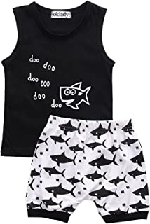 Baby Boy Girl Clothes Shark and Doo Doo Print Summer Cotton Sleeveless Outfits Set Tops and Short Pants