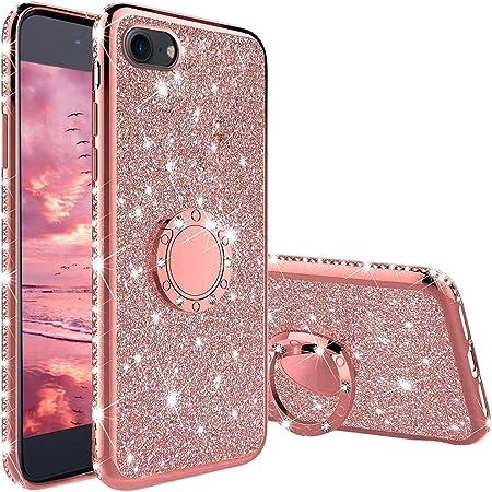 XTCASE Glitter Cover per iPhone 7 / iPhone 8 / iPhone SE 2020, Custodia Brillantini con Supporto Girevole Anello a 360 Gradi, Ultra Sottile Morbid TPU ...