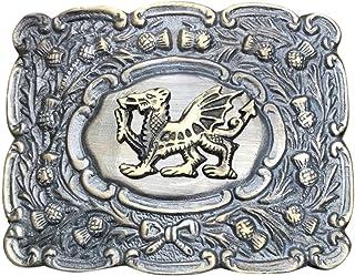 Scottich Kilt Belt Buckle Matt Oval Design with Antique Welsh Dragon Badge