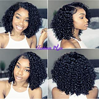FASHION PLUS Full Lace Wigs 150% Density Short Curly Human Hair Wigs Pre Plucked Hairline with Baby Hair Deep Curly Full Lace Human Wigs Natural Color