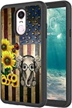 LG Stylo 5 Case, Shockproof Hard PC and Soft TPU Protective Hybrid Dual Layer Heavy Duty Protectione Phone Case, Sunflower and Elephant