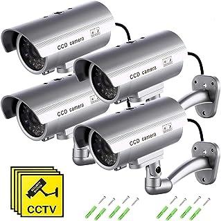 Cámara Falsa Dummy Cámara de Seguridad Vigilancia Falsa Inalámbrico Impermeable Sistema de Vigilancia IR LED Parpadeante Fake Cámara Simulada CCTV (4Pcs)