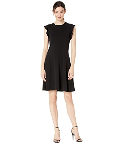Three Dots Heritage Knit Ruffle Sleeve Dress (Black) Women