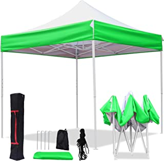 American Phoenix 8x8 Pop Up Tent Instant Outdoor Canopy Portable Shade Folding Tent Carry Bag (White & Green)