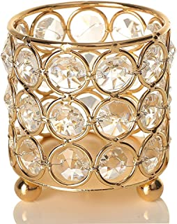 VINCIGANT Gold Cylinder Crystal Tealight Candle Holders for Office Table Decorative Centerpiece Gifts