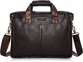 BOSTANTEN Leather Briefcase Laptop Messenger Business Bags for Men Brown 14 Inch