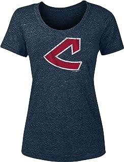 New Era Cleveland Indians Women's Distressed Vintage Logo Tri-Blend T-Shirt