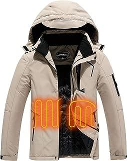Men's Heated Ski Jacket Snow Coat Mountain Windbreaker Hooded Raincoat, Windproof and Waterproof