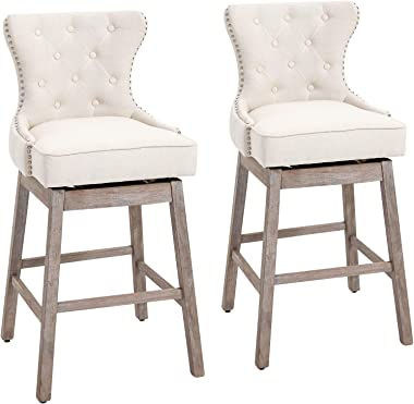 HOMCOM Upholstered Linen Bar Stools 180° Swivel Nailhead-Trim Pub Chairs with Rubber Wood Legs Set of 2, Cream White