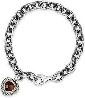 Mia Diamonds 925 Sterling Silver and 14k Yellow Gold Garnet Heart Link Bracelet