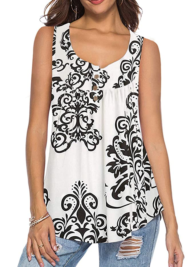 Mystry Zone Women's Summer Sleeveless Buttons Up Neck Casual Tank Tops Basic Flowy Blouse