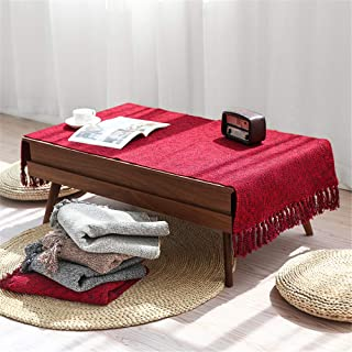 Abreeze Hand Woven Rug Breathable Cotton & Polyester Table Covers Sofa Decor Washable Decorative Area Rugs for Kitchen, Laundry,Living Room, Bedroom, Bathroom, Office (Black & Red, 23.6x51)
