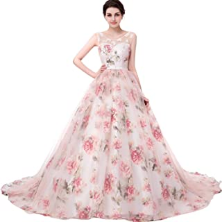 34cf425e38 Onlybridal Women s Tulle Flower A-Line Quinceanera Prom Dress Lace up  Corset Ball Gown Sleeveless