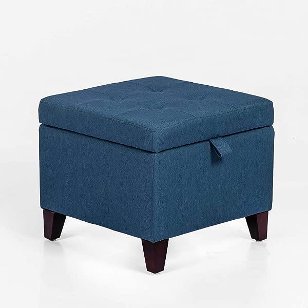 簇绒收纳搁脚凳方形搁脚凳织物立方体长凳带铰链盖木腿深蓝色