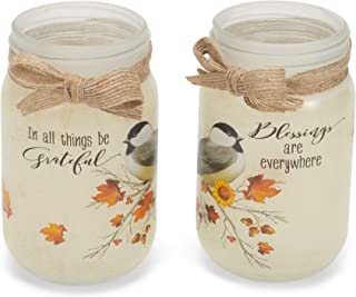 Fall Bird Floral White 5 x 5 Glass Harvest Tea Light Holder Jars Set of 2
