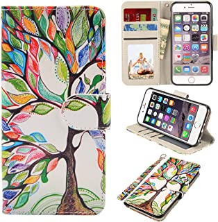 UrSpeedtekLive iPhone 6S Plus Case, iPhone 6 Plus Case, Premium PU Leather Funny Pattern Case Flip Cover with Card Slots & Stand for Apple iPhone 6 Plus/6s Plus 5.5 Inch, Love Tree