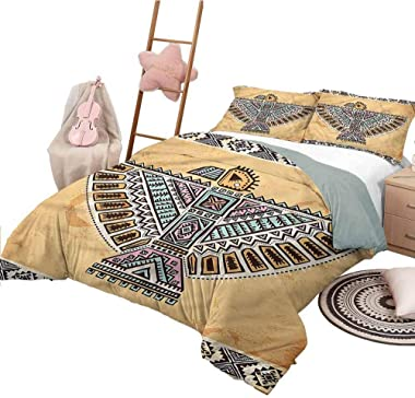 Nomorer Print Duvet Cover Queen Size Native American Funny Sleeping Fashion Animal Symbol Totem