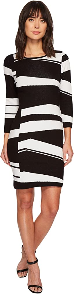 Vince Camuto - 3/4 Sleeve Birdseye Jacquard Sweater Dress