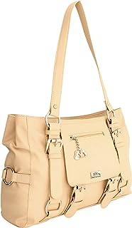I DEFINE YOU Jessica Cream Color Genuine Leatherette Handbags for Girls and Women