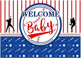 Funnytree 7x5FT Baseball Baby Shower Photography Backdrop Welcome Baby Birthday Party Decoration Batter Up Sport Background Photo Booth