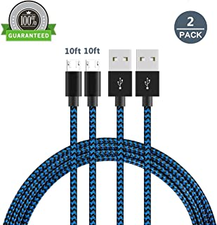 Micro USB Cable Android, AUSURE 2 Pack Premium Nylon Braided USB 2.0 A Male to Micro B Data Sync and Charging Cable Cord for Samsung, Motorola, HTC and More Android Devices (Black+Blue 10FT)