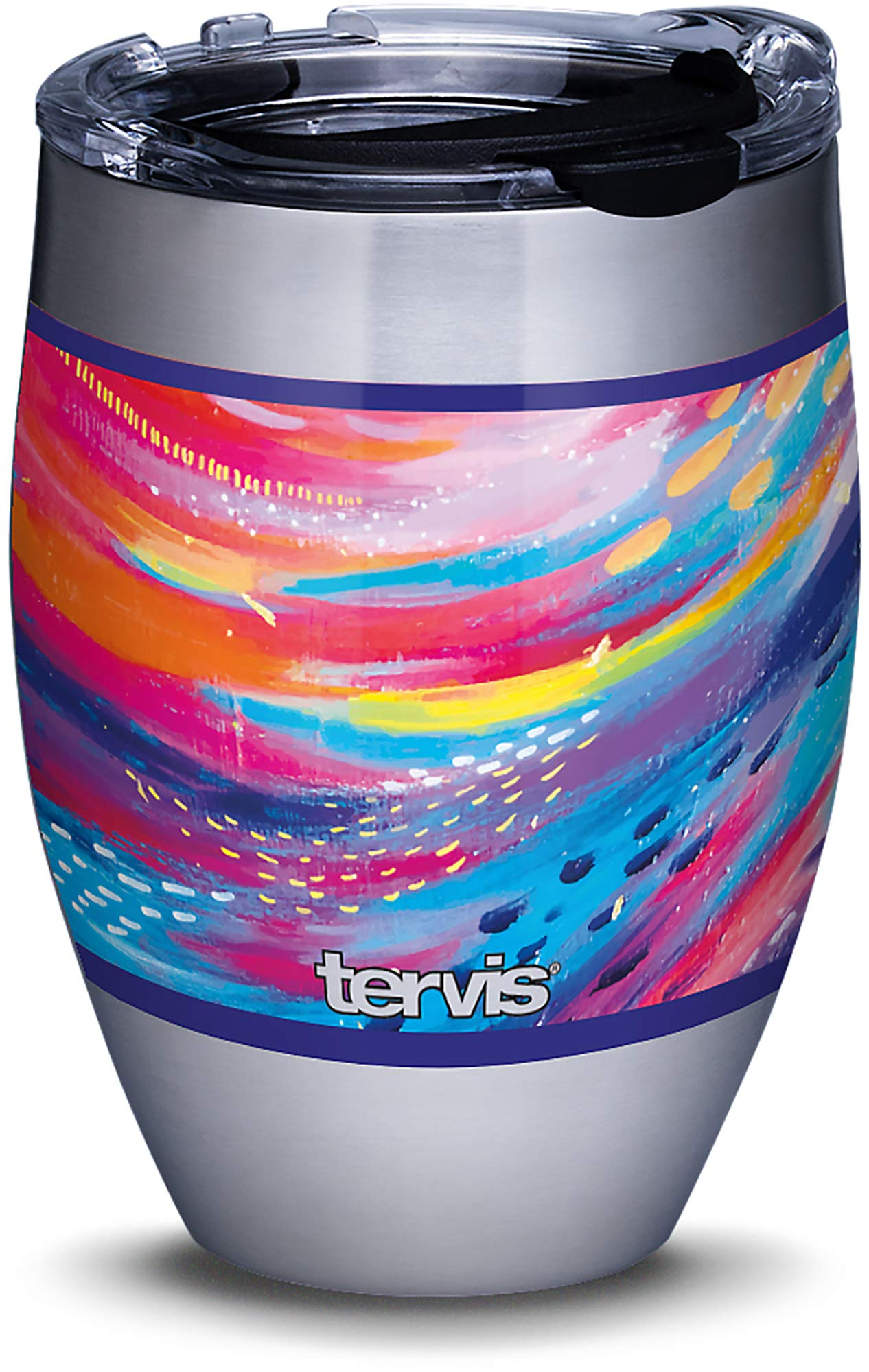 Amazon Com Tervis Etta Vee Happy Abstract Stainless Steel Insulated Tumbler With Clear And Black Hammer Lid 12oz Silver Tumblers Water Glasses