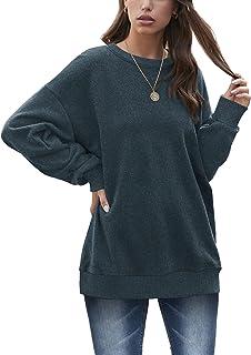 Oversized Sweatshirts for Women Crewneck Long Sleeve Tunic Tops for Leggings