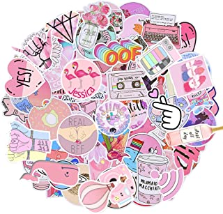 Cute Stickers for Water Bottles, 53 Pack Pink Waterproof Laptop Stickers Trendy Aesthetic Stickers for Guitar, Laptop, Luggage, Skateboard, Stickers for Kids,Girls,Teens,Adults