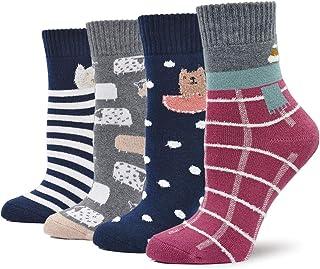 Calcetines Térmico de Algodón para Mujer Invierno Calcetines Gruesos y Cálidos, Calcetines Divertidos con Dibujos, Calcetines Navidad, talla 35-41, 4 pares
