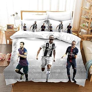 XCMMK Bettwäsche Microfaser Messi Mbappé Cristiano Ronaldo weiche Flauschige Bettbezüge 1 Bettbezug 135x200cm  1 Kopfkissenbezug 80x80cm mit Reißverschluss