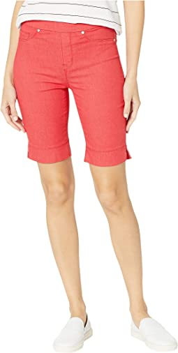Soft Touch Denim Pull-On Bermuda w/ Side Slit in Teaberry