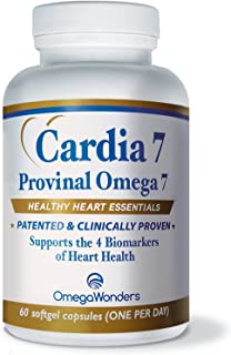 Cardia 7: Purified Provinal Omega 7 Fatty Acids - Compare to Omega 3-6-9 and See The Benefits - A Great No Fish Smell, No Burp-Back, No Fish Taste Alternative to Fish Oil Capsules
