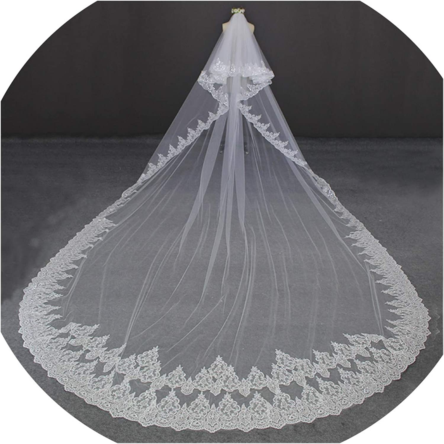 5M Full Edge with Lace Two Layers Long Wedding Veil with Comb White Ivory Bridal Veil 2019,Ivory