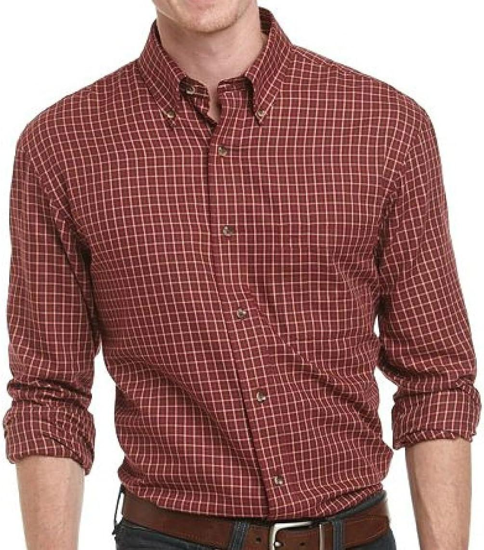 Arrow Mens Button Down Twill Dress Shirt Cabernet Pattern