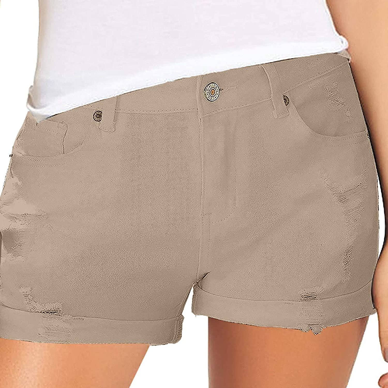Denim Shorts for Women, Women's Manual Wear Out Cowboy Shorts Trendy Fashion Hole Flanging Hot Pants