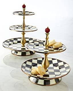 Mackenzie-Childs Courtly Check Enamel Two Tier Sweet Stand - Cake Stand - Party Server Display Set - Stainless Steel - 10