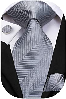 Dubulle Solid Mens Necktie with Cufflinks Tie and Pocket Square
