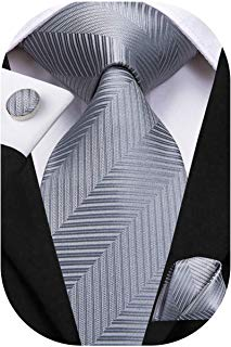 Solid Mens Necktie with Cufflinks Tie and Pocket Square