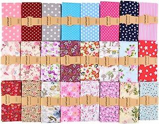 ewtshop - 25 tessuti in cotone 30 x 30 cm, patchwork fai da te, 25 motivi, per il cucito.