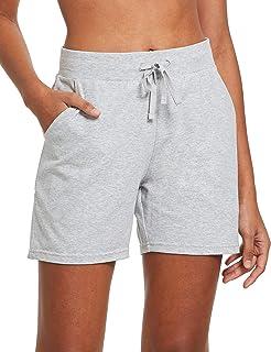 "Women's 5"" Lightweight Jersey Cotton Yoga Pocketed Lounge Walking Shorts Pajama Activewear Beach Shorts"