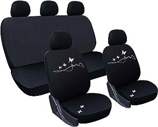 WOLTU AS7304 - Bonitas Fundas universales para Asientos de automóviles, con Mariposas Bordadas, en Color Rosa y Negro