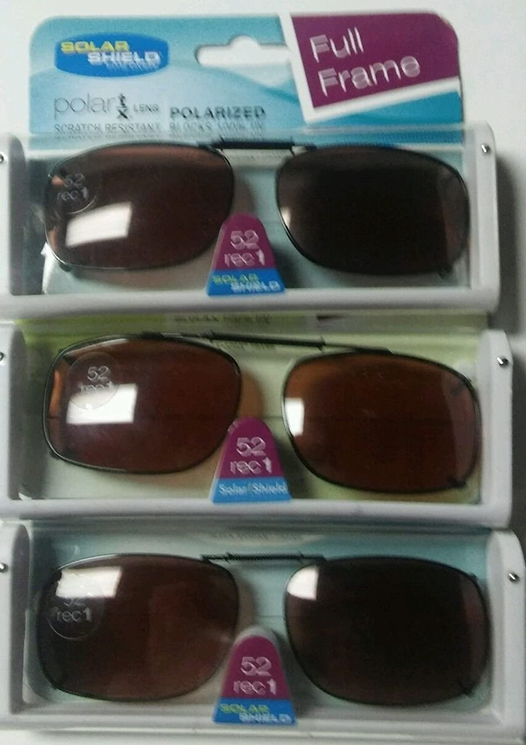 SET OF 3- SOLAR SHIELD 52 REC 1 Brown Full Frame POLARIZED CLIP ON SUNGLASS SCRATCH RESISTANT LENSES NEW