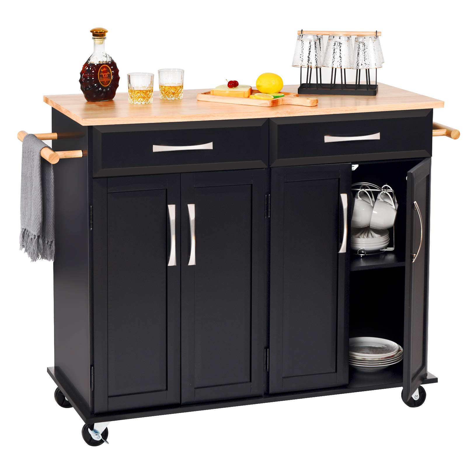Amazon Com Catrimown Kitchen Island With Storage Drawer Cabinet Large Rolling Kitchen Island Cart On Wheels Towel Rack Lockable Wheels And Rubber Wood Countertop For Home Black Kitchen Islands Carts