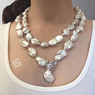 Large Baroque Cultured Pearls Necklace, Freshwater Pearls And Sterling Silver Toggle Long Necklace, 42
