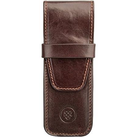 Maxwell Scott Elegant Full Grain Leather Pen Case - Pienza Brown