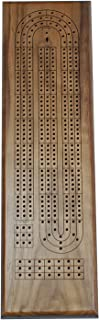 Classic Cribbage Set - Solid Walnut Wood Continuous 3 Track Board with Metal Pegs