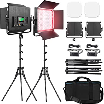 RGB Led Photography Lighting, Pixel 2 Packs Full Color Led Video Light, 552PCS LED Beads 45W/CRI 97/2600K-10000K/9 Applicable Scenes, Led Light Panel with U Bracket/Barn Door for Video Shooting