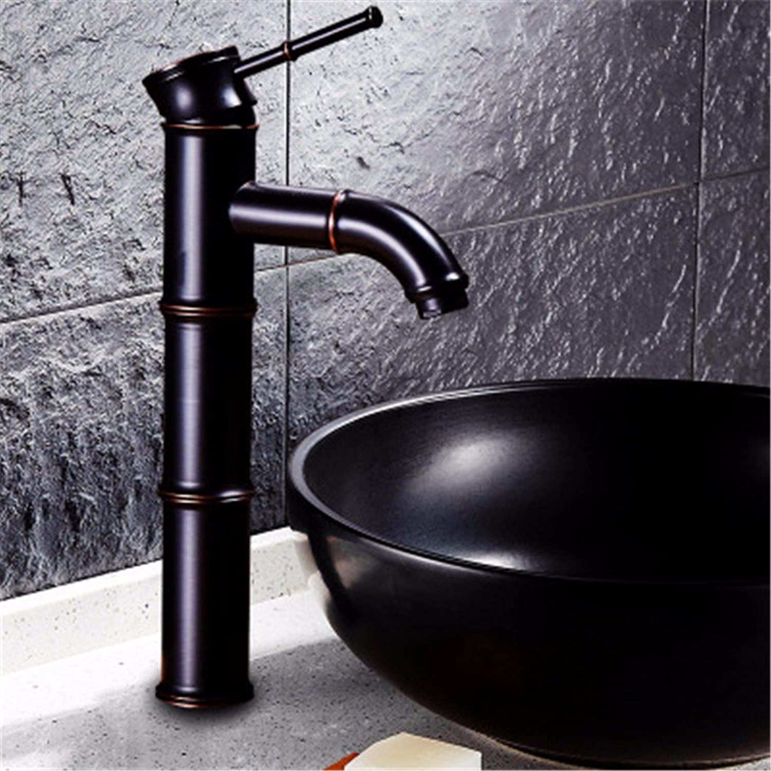 Bijjaladeva Antique Bathroom Sink Vessel Faucet Basin Mixer Tap Basin-wide water faucet antique Copper Black hot and cold surface Basin Water mixing valve B2