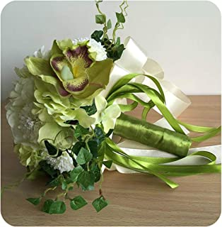 Elegant Hydrangea Wedding Bouquets Simulated Chrysanthemum Cymbidium Bridal Bouquets Handmade Bridesmaid Bouquet,Color 1