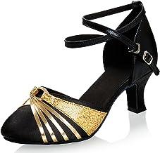 iCKER Women's Latin Dance Shoes Satin Ballroom Salsa Wedding Performance Dance Shoes 2.2'' Heel